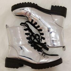 Silver Metallic Combat Boots